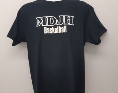 MDJH Basketball Logo digitally printed on the front of t-shirt