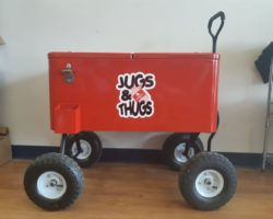 full colour decal applied to the side of red cooler wagon.